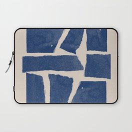 Watercolor collage, Paper Collage, Blue and Beige Laptop Sleeve