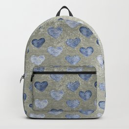 Blue Hearts On Grungy Grey Backpack