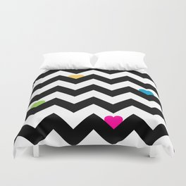Heart & Chevron - Black/Multi Duvet Cover