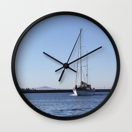 Blue Water Boat Wall Clock