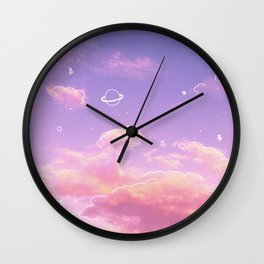 Doodle Pastel Sunset Wall Clock