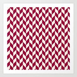 Burgundy Red and White Herring Pattern Art Print