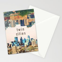 Twin Cities | Minneapolis and Saint Paul Minnesota Skylines | City Collage Stationery Cards