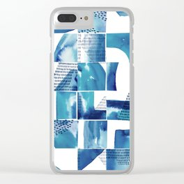 Blue Watercolor Typographical Fragments Cheater Quilt Clear iPhone Case