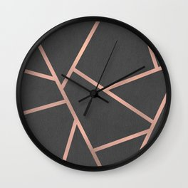 Dark Grey and Rose Gold Textured Fragments - Geometric Design Wall Clock