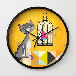 Cat Bird Seat Wall Clock