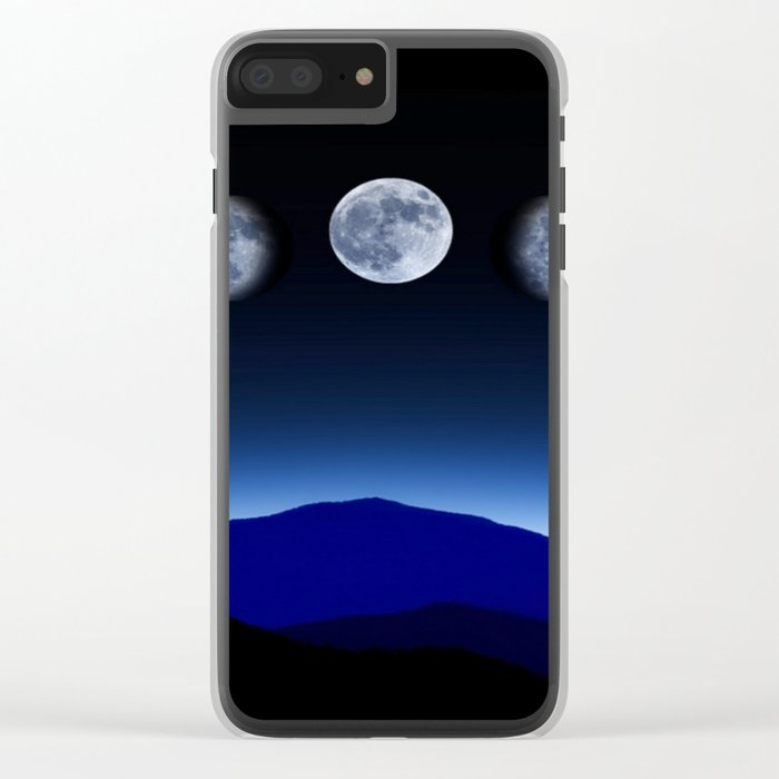 Moon Phases #blue Clear iPhone Case