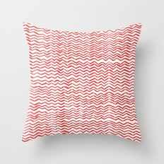 Red Wavy Chevrons Throw Pillow