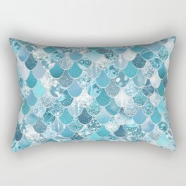 Mermaid Art, Cute Teal and Aqua, Fun Bathroom Art Rectangular Pillow