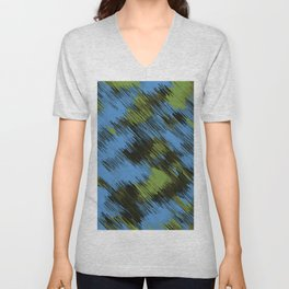 green blue and black painting texture abstract background Unisex V-Neck