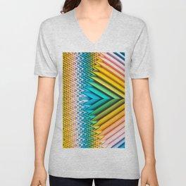 Sun Shard IV. Abstract Colorful 3d Chevron Unisex V-Neck
