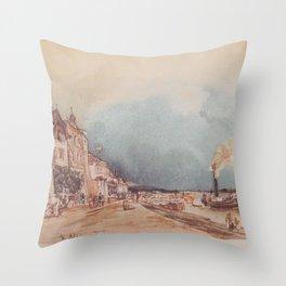The Landing Site In Stein An Der Donau 1844 by Rudolf von Alt | Reproduction Throw Pillow