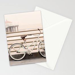 Bicycle at Manhattan Beach Pier, Riding Bikes at the Beach, Beach Art Print, California Summer Stationery Cards
