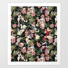 Floral and Pin Up Girls Pattern Art Print