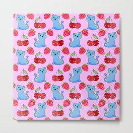 Cute funny sweet adorable little three baby tigers, little cherries and red ripe summer strawberries cartoon fantasy light pastel pink pattern design Metal Print