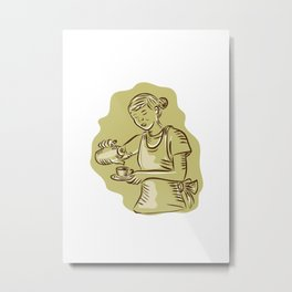 Waitress Pouring Tea Cup Vintage Etching Metal Print