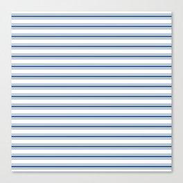 Mattress Ticking Wide Horizontal Stripe in Dark Blue and White Canvas Print