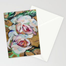 Two Roses on Gold Stationery Cards