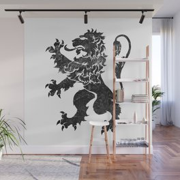 Lion Rampant - Black Weathered Wall Mural
