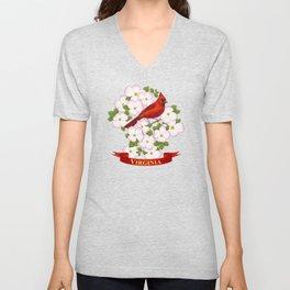 Virginia State Cardinal Bird and Flowering Dogwood Unisex V-Neck