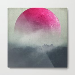 Pink Moon over Misty Woodlands Metal Print