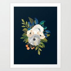 Midnight Florals - Blue & Cream Art Print