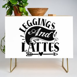 Leggings And Lattes Trendy Quote Cool Mom Credenza