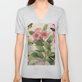 A macaw with flowers and butterflies Unisex V-Neck