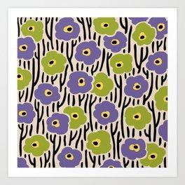 Mid Century Modern Wild Flowers Pattern Purple and Green Art Print