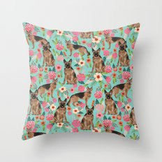 German Shepherd florals gifts for the dog lover dog breeds pet portrait dog art service dogs furbaby Throw Pillow