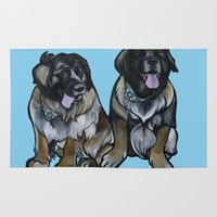 simba Area & Throw Rugs featuring Simba and Snuffaluffagus the Leonbergers by Pawblo Picasso