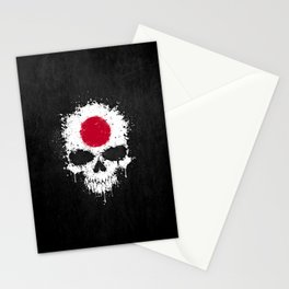 Flag of Japan on a Chaotic Splatter Skull Stationery Cards
