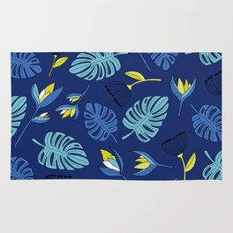 Tropical forest jungle monstera flowers pattern Rug