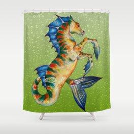 Hippocamppus Lime Shower Curtain