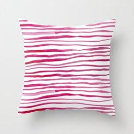 Irregular watercolor lines - pink Throw Pillow