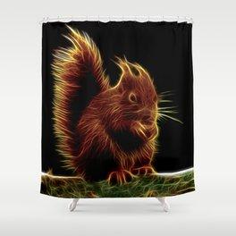 Sinister Squirrel Fractal Shower Curtain