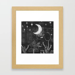 Elephant and Moon Framed Art Print