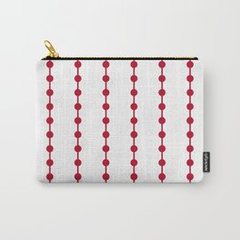 Geometric Droplets Pattern Linked - Pastel Red on White Carry-All Pouch