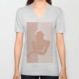 Minimal illustration of a Woman Unisex V-Neck