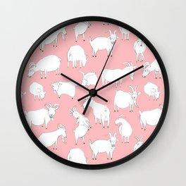 Goats Playing – Pink Wall Clock
