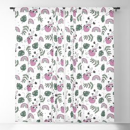Sweet baby sloth kawaii girls jungle leaves pattern pink green Blackout Curtain