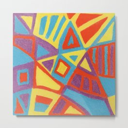 Colorful stained glass with unusual shapes Metal Print