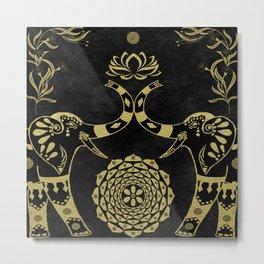 Lotus Flower Elephants Mandala Gold & Black Metal Print