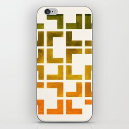Geometric Pattern L Shaped Watercolor Painting Olive Green Yellow Ochre Colorful Pattern Art iPhone Skin