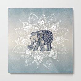 Elephant  Mandala Metal Print