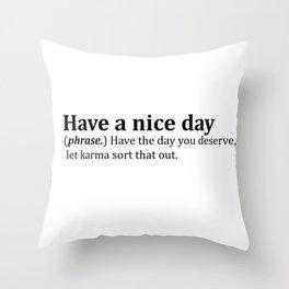 Greetings Dictionary Meme Throw Pillow