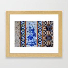 Goat Vintage Mosaic Tiles Framed Art Print