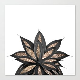 Gray Black Agave with Gold Glitter #2 #shiny #tropical #decor #art #society6 Canvas Print