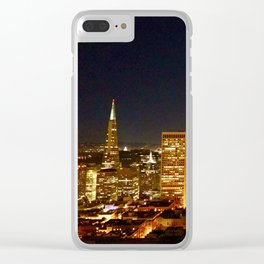 San Francisco at night, illuminated by the Moon Clear iPhone Case