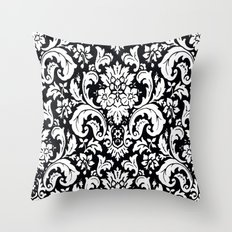 Damask Paisley Black and White Paisley Pattern Vintage Throw Pillow